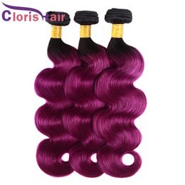 ombre human hair wefts Canada - Body Wave Hair Weaves Ombre Malaysian Virgin Hair Bundles Two Tone 1B Purple Colored Human Hair Extensions Wet And Wavy Dark Root Wefts