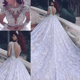 Long Bridal Robes NZ - Luxury O-neck Long Sleeve Ball Gown Wedding Dresses Bridal Dresses Beaded Crystals Vestidos De Noiva Wedding Gowns Robe De Mariage