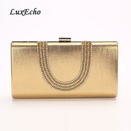 Brides Clutch Bags NZ - LuxEcho 2018 New Arrival Rhinestone handbags Chain Bride wedding purse Fashion party evening bags Day clutches Golden