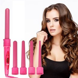 Ceramic Wand Curling Iron NZ - DODO LED Hair Curler Women Curling iron 5in1 Irons 5 Waves Spiral Roller Interchangeable Barrels Retro Ceramic Wand Set Tongs Black Pink