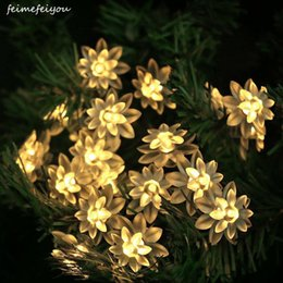 $enCountryForm.capitalKeyWord Australia - wholesale Newest Remote Battery Operated lotus String Lights 40 80 100LED LED Flower Fairy Light String for Indoor and Outdoor