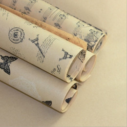$enCountryForm.capitalKeyWord NZ - Gift Wrapping Paper Roll Vintage Eiffel Tower Brown Paper Wrap Decor Kraft For Christmas Party Creative Material free dhipping 2018 new hot