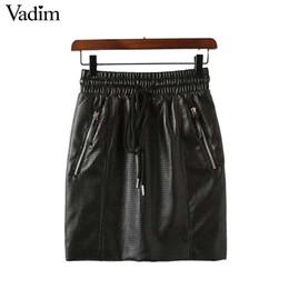 x201712 Vadim mujeres ahuecan las mini faldas de cuero de la PU pajarita  bolsillos cintura elástica faldas moda femenina faldas plisadas negras  BSQ692 ff9a020997ff