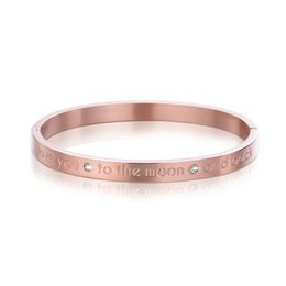 $enCountryForm.capitalKeyWord Australia - Personalize Custom Engrave Bangle Titanium steel lettering I love you to the moon and back plane buckle bracelet