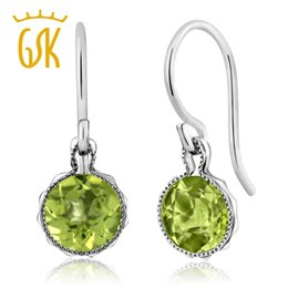 Discount 925 silver wire earrings - GemStoneKing 1.80 Ct Natural Green Peridot Earrings 925 Sterling Silver French Wire Drop Earrings For Women Fine Jewelry