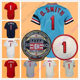 Button downs online shopping - Ozzie Smith Jersey With Hall Of Fame Patch St Louis Men White Black Grey Red Pullover Button Down Home Away