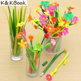 blooms flowers UK - K&KBOOK 12pcs lot Fashion Hot creative stationery Bloom Sweet Lucky Flora flowers Pen design Ballpoint pen material escolar