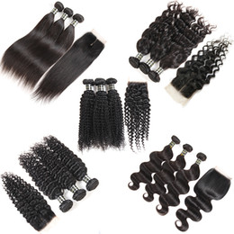 China Brazilian Virgin Hair Bundles with Closure Body Wave Deep Wave Kinky Curly Wet and Wavy Hair Weaves Closure 3Bundles Human Hair Lace Closure cheap natural wavy human hair suppliers