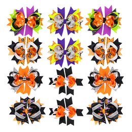 $enCountryForm.capitalKeyWord Australia - Halloween Hair Bows Lined Hair Clip Spider Pumpkin Witch Bat Ribbon Bow Barrette For Girls Kids Holiday Party Hair Accessories