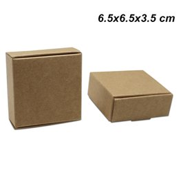 brown paper gifts Canada - Brown 30pcs Lot 6.5x6.5x3.5cm Kraft Paper Party Birthday Candy Chocolate Party Packaging Box Craft Paper Gifts Jewelry Accessory Storage Box
