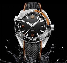 Опт Горячие продажи роскошные мужские часы SEA MASTER серии black face High 215.32.44 механизм с автоподзаводом оригинальный резиновый ремешок часы