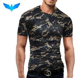 holes shirts 2019 - QINGYU Male 2018 Brand Short Sleeve Camouflage Hole T Shirt Slim Men T-Shirt Tops Fashion Mens Tee Shirt T Shirts 2XL di