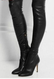 sexy thigh high heel boots Australia - 2018 Women Thigh High Boots Lady Over Knee High Heels Booties Black Leather Long Booties Sexy Thigh High Gladiator Boots