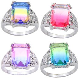 Wholesale Christmas Gift LuckyShien New Retro Silver BI COLORED Tourmaline Crystal Zircon Silver Wedding Jewelry Rings