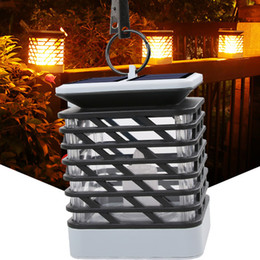 Candle lit lanterns online shopping - New and hot Solar candle lights flame Lantern Fire dancing lamp LED solar garden lights Outdoor waterproof flame lights