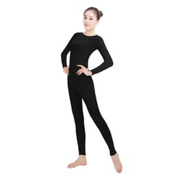 purple red full body suit UK - Ensnovo Womens Lycra Nylon Spandex Long Sleeve Unitard Bodysuit Zentai Cosplay Suit Black Dancewear Costume Full Body Tights