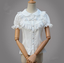 lolita blouses Australia - Classic lolita Fashion White black Lolita Lace Doll collar Chiffon Woman Shirt Gothic sweet short Sleeve Lace Ruffle Blouse