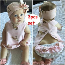 $enCountryForm.capitalKeyWord Australia - 3PCS Girl Outfit for 0-3T Toddler Girl reversible Clothes Set Summer Sleeveless Rabbit Printed Vest Back Cross Tops+Ruffles Shorts