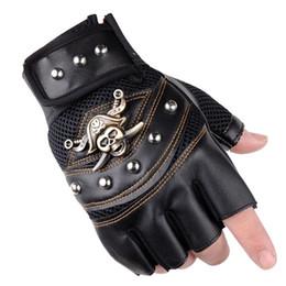 Rivets leatheR gloves online shopping - Pirate Captain PU Leather Fingerless Gloves Men Women Skulls Rivet Mitts Hip Hop Gym Gloves Female Moto Half Finger Men s