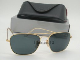 Sun Glasses Black Australia - 1Pcs High Quality Mens Womens Sports Caravan Sunglasses Gold Metal Rectangle Sun Glasses Black Glass Lenses 58mm With All Accessories