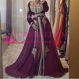 Wholesale 2019 Saudi Arabic Burgundy Long Sleeve Evening Dresses Gold Appliques Belt Muslim Formal Prom Occasion Party Gowns Custom Made