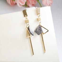 Earrings Korean Wholesalers NZ - new Korean Fashion Acrylic Geometric Gold Silver Long Drop Earrings for Women Party Metal Rhinestones Hanging Earring Jewelry