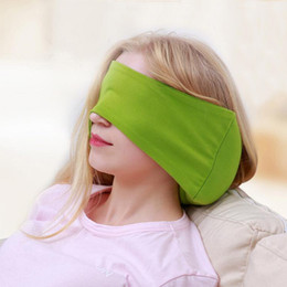 Pillow Mask NZ - Free Shipping Soft Combed Cotton Travel Work School Rest Pillow Eye mask Comfortable Neck Pillow With EPS Beans Filling Car Cover