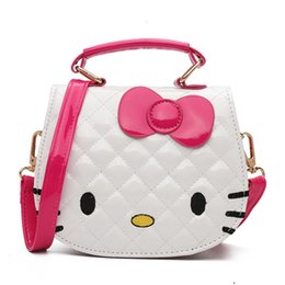 e3bc58288e Cartoon Hello kitty Bowknot Girls Handbag Kids Tote Toys Girls Bag PU  Leather Plush Backpack Best Gifts For Girl Adult