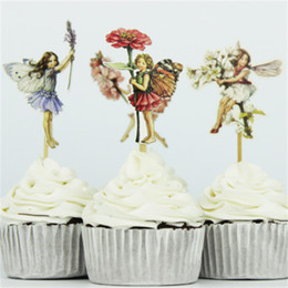 Party Decoration Set Kids NZ - 24pcs set Flower Fairy and Little Girl Cake Decoration Cupcake Topper Inserted Card Stands Baking Kids Birthday Party Supplies