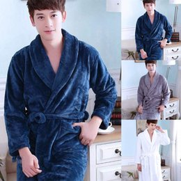 Men s Bathrobe Flannel Warm Pajamas Thick Lapel Men Women Sleepwear Long  Sleeve Home Comfy Soft Bath Robe Winter Autumn 2018 d4ee0b198