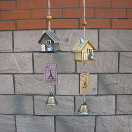 $enCountryForm.capitalKeyWord Canada - Hot New Wholesale- Japanese Totoro Wooden House Landscape Garden Outdoor Decor Wind Chime Bell free shipping