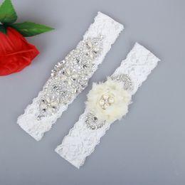 2 шт. Комплект Свадебные подвязки для невесты Кружевные свадебные обвязки Sexy Real Pearl Жемчужные синие шифоновые цветы Handmade Cheap Wedding Leg Garters