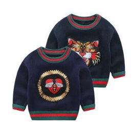China Brand New Children Clothing Baby Girls Spring Autumn Long Sleeve Embroidered Sweater Toddler Boy Tiger Pattern Winter Jumper Free Shipping suppliers