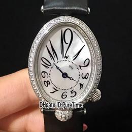 Nova Reine De Nápoles 8928BB / 5W / 844 Diamante DD0D Bezel 33mm Prata Shell Roma Dial Suíço Quartz Womens Watch Couro Preto Diamante Fivela