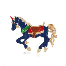 Red Indian Oil NZ - European and American fashion trend brooch alloy drop oil color brooch unicorn brooch