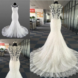 Sheer black dreSS online shopping - Vintage Lace Beads Mermaid Wedding Dresses Temperament Round neck Neck Sleeveless With Bridal Long Train Wedding Gowns