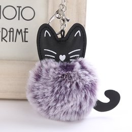 Artificial Chains Wholesalers Australia - Lovely Cartoon Cat Fluffy Fur Ball Key Chain Soft Pompom Animal Tail Artificial Rabbit Fur Keychain Women Car Bag Key Ring Gift