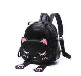 school girl cute teenage 2019 - 26*29*13cm Cute Cat Backpack School Women Pu Leather Backpacks for Teenage Girls Funny Cats Ears Canvas Shoulder Bags Fe