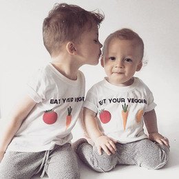Designs Girls Shirts New Canada - New Baby Boys Girls Cartoon Vegetables Design T-Shirts Children Summer Black White Color Tops 1-6Y With Short Sleeve Tee ZX274