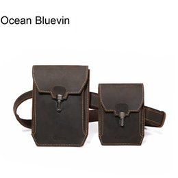 Discount genuine leather chest bags - OCEAN BLUEVIN Genuine Leather Waist Bag Belt Bag for Men Vintage Fanny Pack Double Waist Packs Crossbody Chest for Male