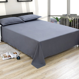 Discount bedding for queen size beds - Home Textile Bedding Printed Soft Solid Color Bed cover Bedspreads Flat Sheets Polyester Bed Sheet for Twin Full Queen K