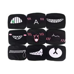 Black cotton face mask online shopping - New Arrival Women Men Black Anti Dust Cotton Cute Bear Anime Cartoon Mouth Mask Kpop teeth mouth Fashion Muffle Face Mouth Masks