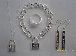 Wholesale Designer Jewelry Heart lock New Jewelry Sets Sterling Silver Bracelet and Necklace Sets Fashion womens Jewelry Sets with box glitter2009