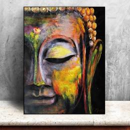 Discount buddha portraits - High Quality Wall Art Handpainted & HD Print vivid Buddha face Portrait Art Oil Painting On Canvas For Home Decor p155