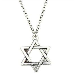 Necklaces Pendants Australia - WYSIWYG 5 Pieces Metal Chain Necklaces Pendants Hand Made Necklace Men David Star 20mm N2-B10225
