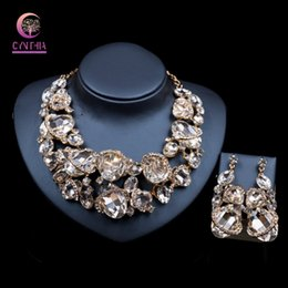 Copper Earrings Australia - Hand painted 3D Big flowers Necklace Earrings Set with glass Crystal Rhinestones Luxury Bridal Wedding Jewelry sets copper alloy
