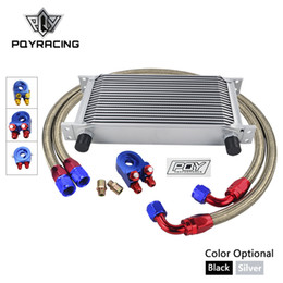 braiding kit UK - UNIVERSAL 19 ROWS OIL COOLER KIT +OIL FILTER SANDWICH + NYLON STAINLESS STEEL BRAIDED AN10 HOSE WITH PQY STICKER+BOX