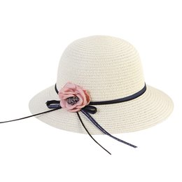 34e8aa41c3c Lady Boater sun caps Ribbon Round Flat Top Straw beach hat Panama Hat  summer hats for women straw snapback gorras for women