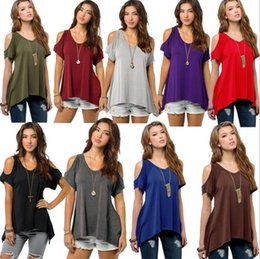 $enCountryForm.capitalKeyWord NZ - Brand clothing summer V pure cotton short sleeved Strapless collar fishtail hem female women T-shirt Free shipping S-5XL