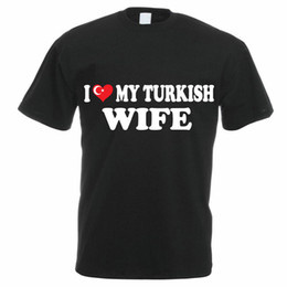 China Design Shirts Broadcloth O-Neck Short-Sleeve I Love My Turkish Wife Turkey Family T Shirt For Men suppliers